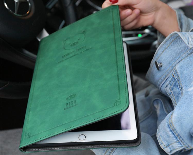 送料無料 iPad 10.2インチ(第7世代/2019)ケース アイパッド カバー タブレットPC  手帳型 段階調整可能 オートスリープ機能付き ぶた かわいい