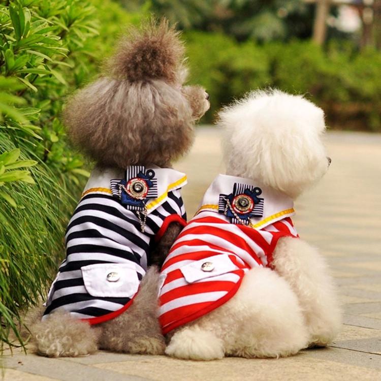 送料無料!犬服 夏ペット服 カップル ペアルック マリンボーダー ペット服 ドッグ服  Tシャツ ふわふわ 可愛い