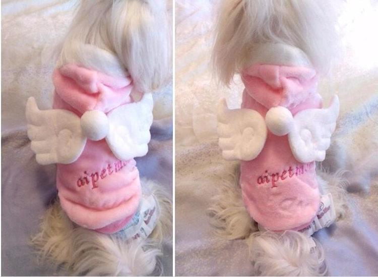 送料無料!犬の服 ジャケット 暖かい 裏起毛  ペット用品 DOG服 犬服 犬用防寒着 ペット服 洋服 天使のはね お嬢様 上品