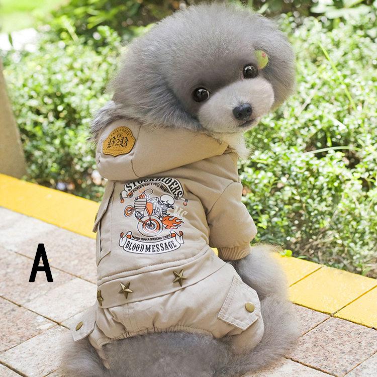 送料無料!犬の服 ロンパース つなぎ カバーオール フード付き 暖かい 裏起毛 ペット用品 DOG服 犬服 犬用防寒着 ペット服 洋服 前開き スナップボタン バイク