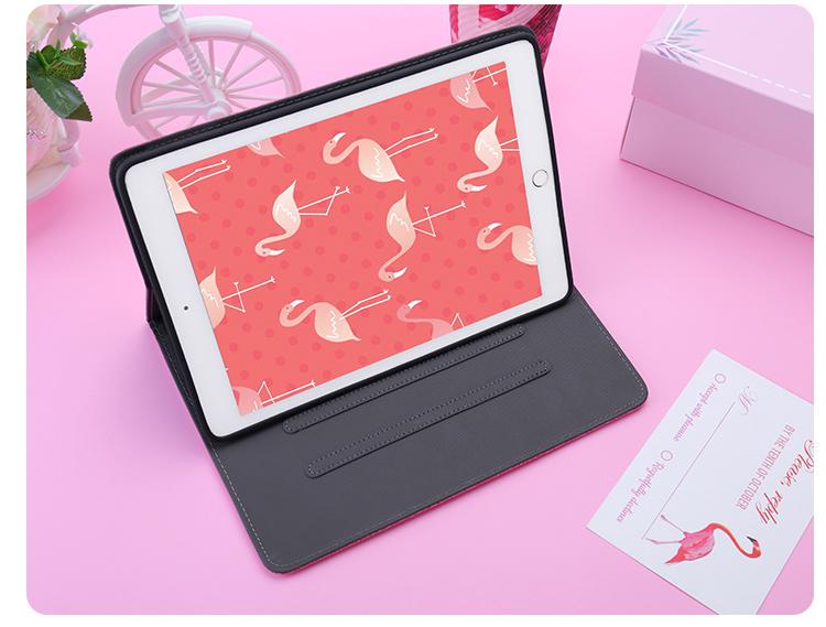 送料無料 iPad 10.2インチ(第7世代/2019)ケース アイパッド カバー タブレットPC  シリコンケース 手帳型 段階調整 おしゃれ 鶴 ピンク