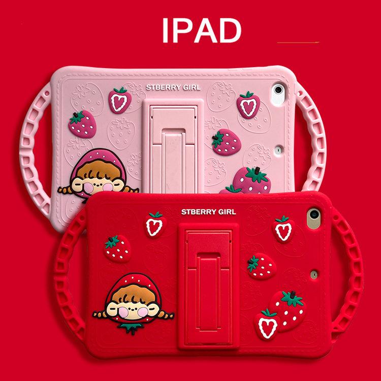 送料無料 2020年発売 iPad Air4 ケース 10.9インチ iPad Air(第4世代)ケース アイパッド エア4 カバー タブレットPC シリコンケース スタンドタイプ デコいちご かわいい