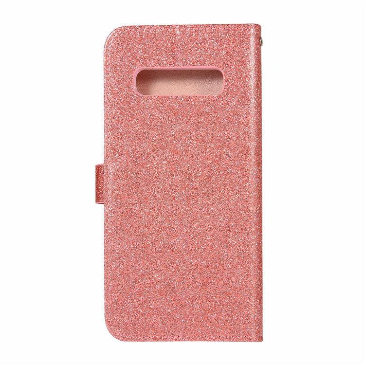 送料無料 Samsung Galaxy S10 ケース ギャラクシー s10 ケース サンスム 6.1インチ SCV41 SC-03L docomo au きらきら LOVE 手帳型 カード収納 ソフト ストラップ付き