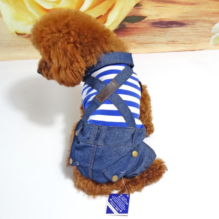 送料無料!犬服 ボーダーつなぎ ジーンズ マリンボーダー パンツつなぎ ペット用品 いぬ服 ドッグウエア
