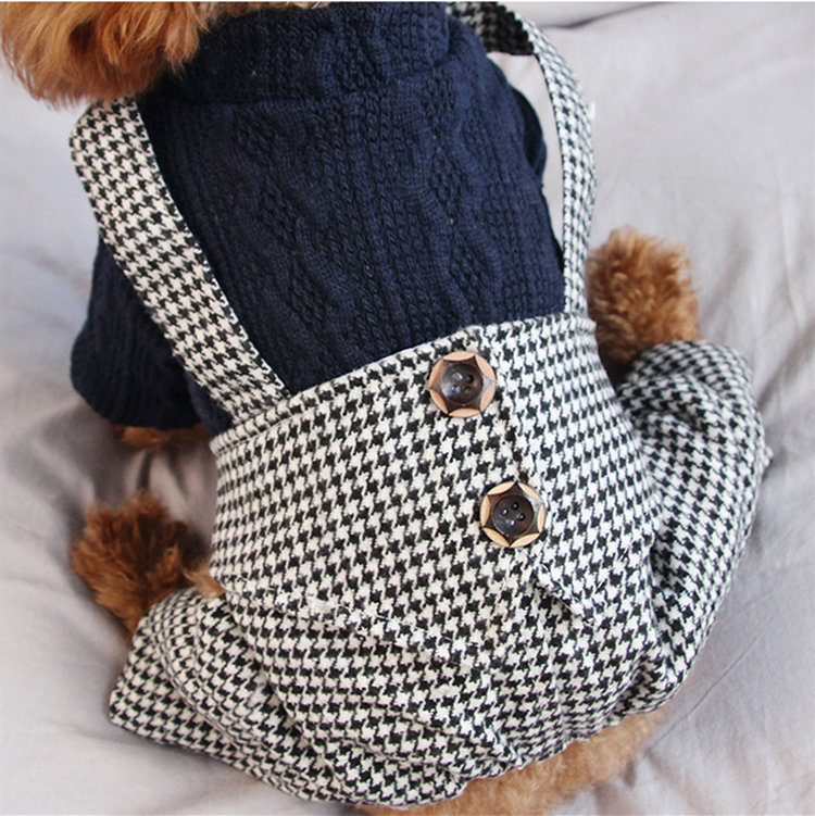 送料無料!犬の服 ロンパース セーター つなぎ オシャレなチェック柄で暖かい 四足前開き モコモコ おしゃれペット ドッグウエア ペット服 人気