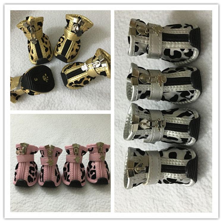 送料無料 犬の靴 レジャーシューズ 滑り止め くつ保護 肉球保護 ペットグッズ  プロテクション ドッグシューズ シューズ 豹柄 レオパード