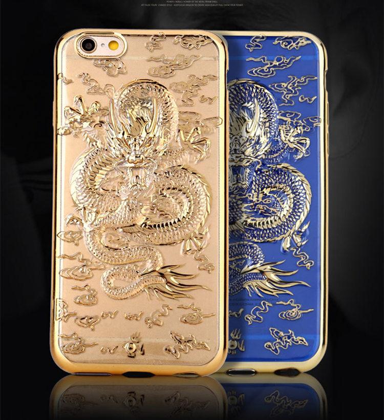 送料無料!iphone6s ケース iphone6 ケース  アイフォン6sケース アイフォン6 カバー スマホケース スリム フィット 金メッキ 3D浮き彫り 竜