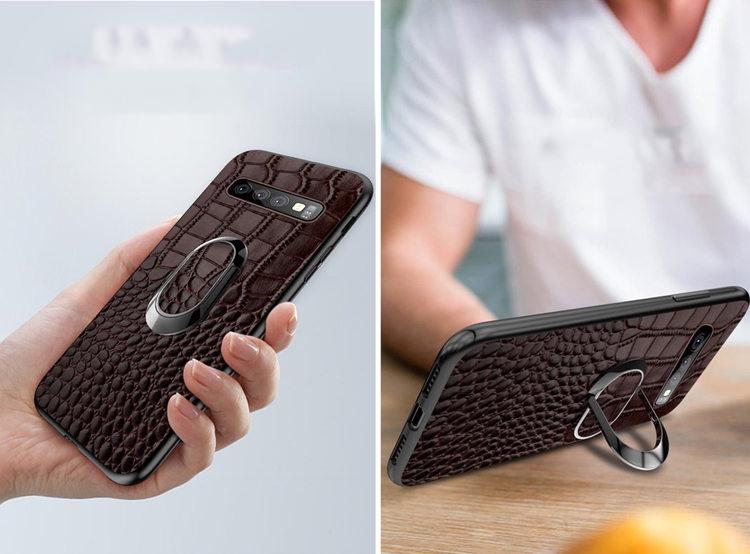 送料無料!Samsung Galaxy S10+ ケース ギャラクシー s10 プラスケース au SCV42 docomo SC-04L  背面カバー リングスタンドあり ワニ革風 軽量 ビジネス