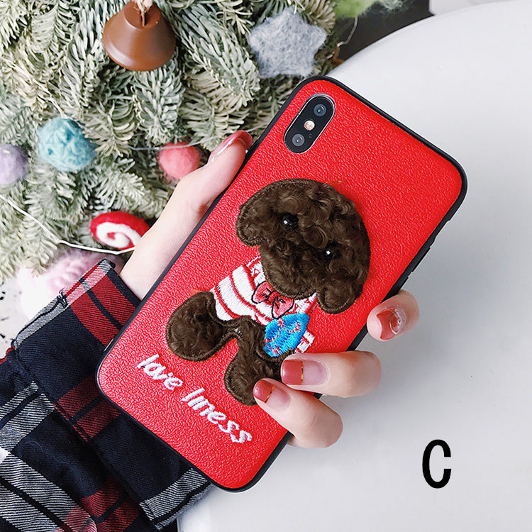 送料無料!iPhone XS ケース iPhone X ケース アイフォンX カバー Apple 5.8インチ スマホケース 犬 立体 刺繍 ファー かわいい