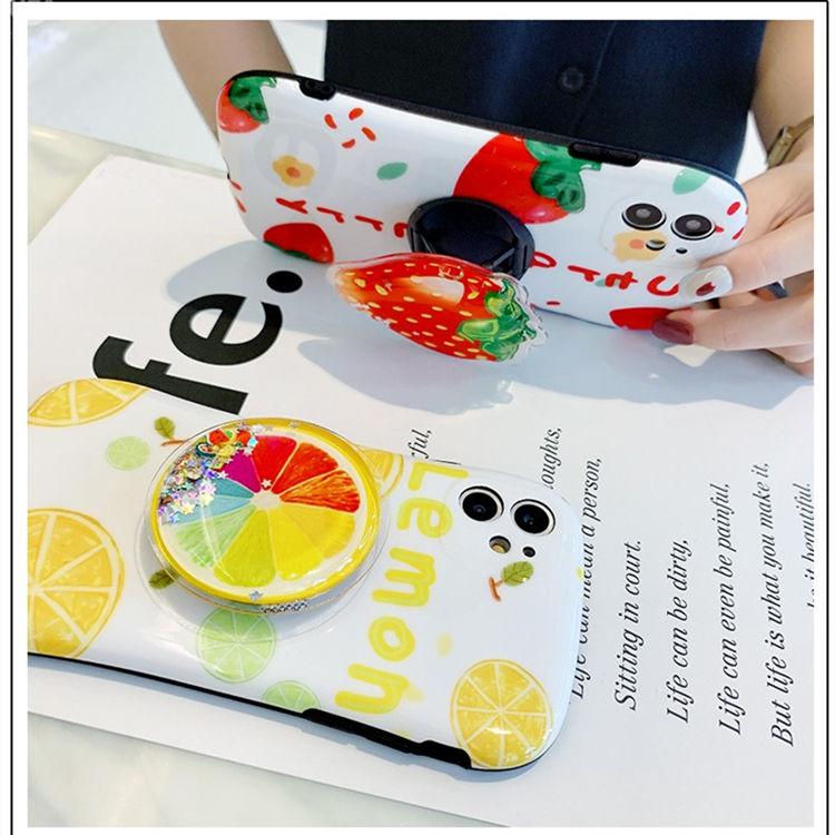 送料無料!iPhone 11 Pro Maxケース iPhone11 pro maxカバー アイフォン11 プロ マックス ケース Apple 6.5インチ スマホケース背面カバー シリカゲルケース リング付き 果物 レモン&いちご かわいい