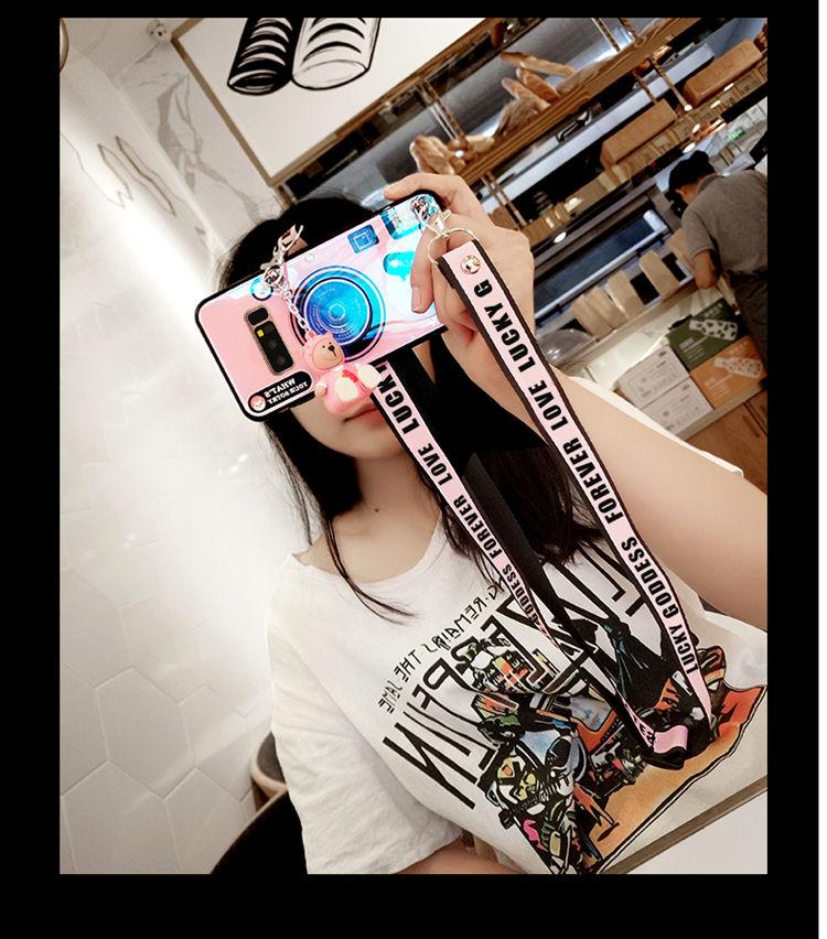 送料無料 Samsung Galaxy S10 ケース ギャラクシー s10 ケース サンスム 6.1インチ SCV41 SC-03L docomo au 背面カバー カメラ風 個性 ストラップ チェーン付き