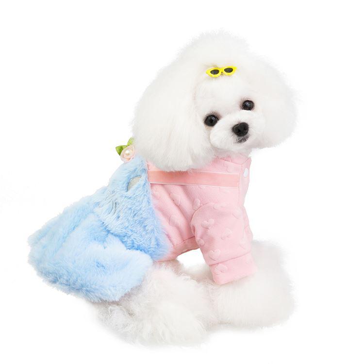 送料無料!犬の服 フリースワンピース 前開き 着ぐるみ ふわふわ コスチューム 小型犬 ドッグウエア ワンちゃん服 お洒落 お散歩