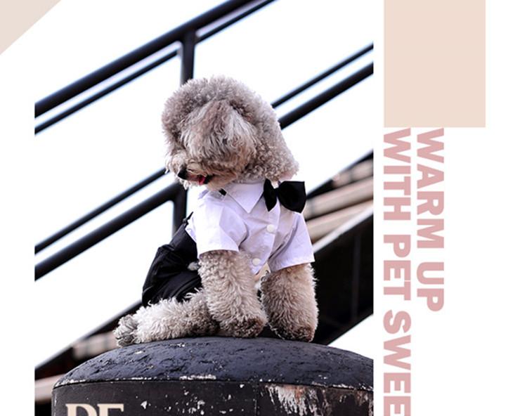 送料無料!犬服 ペット用品 petbaby 犬洋服 蝶リボンネクタイ付き紳士つなぎ ビッグ、ウェディングやパーティ、記念撮影に大活躍!!