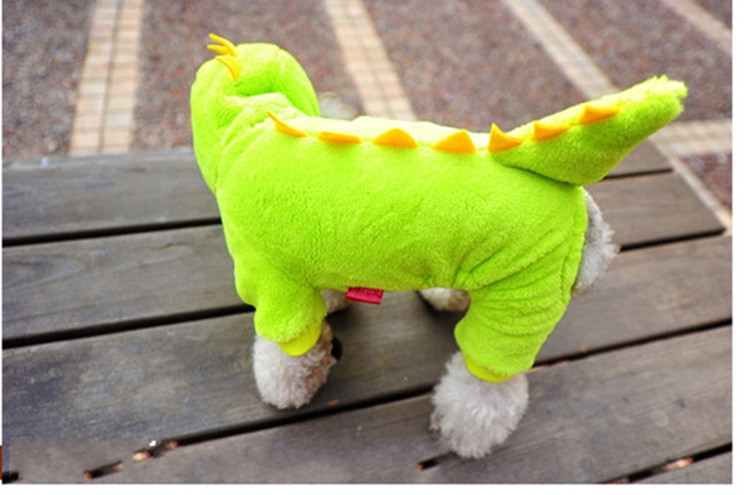 送料無料!犬服 恐竜パーカ つなぎ ダックス・チワワ・トイプードル ドッグウェア 犬 服 冬 秋冬 オシャレ ペット服 恐竜に変身 犬用防寒着