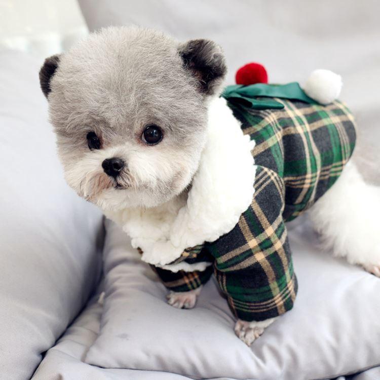 送料無料!犬の服 両足ジャケット 前開き ちょう結び おしゃれペット コスチューム 裏地起毛 犬の服中綿防寒冬物 オシャレなチェック柄で暖かくて ドッグウエア ペット服 ワンちゃん服