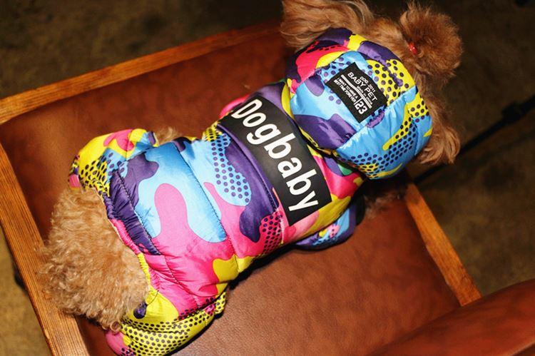 送料無料!犬の服 あったかい 前開き つなぎ フード付き 犬用防寒着 保温性が抜群 カバーオール 犬ウェア ペット服 ワンちゃん服 迷彩柄