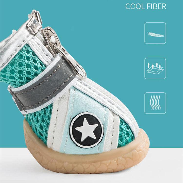 送料無料 犬の靴 スニーカー ペット用 運動靴 保護シューズ 滑り止め マジックテープ 通気性抜群 フアスナー 肉球保護 ペットグッズ 4ピース