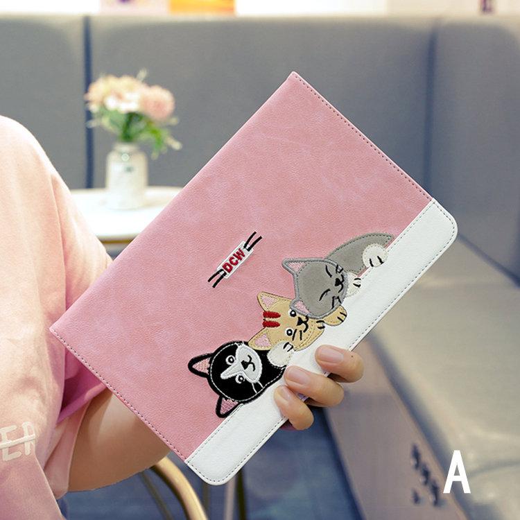 送料無料 2020年発売 iPad Air4 ケース 10.9インチ iPad Air(第4世代)ケース アイパッド エア4 カバー タブレットPC 手帳型 かわいい猫 スタンドタイプ オードスリーブ機能 段階調整 3D 刺繍