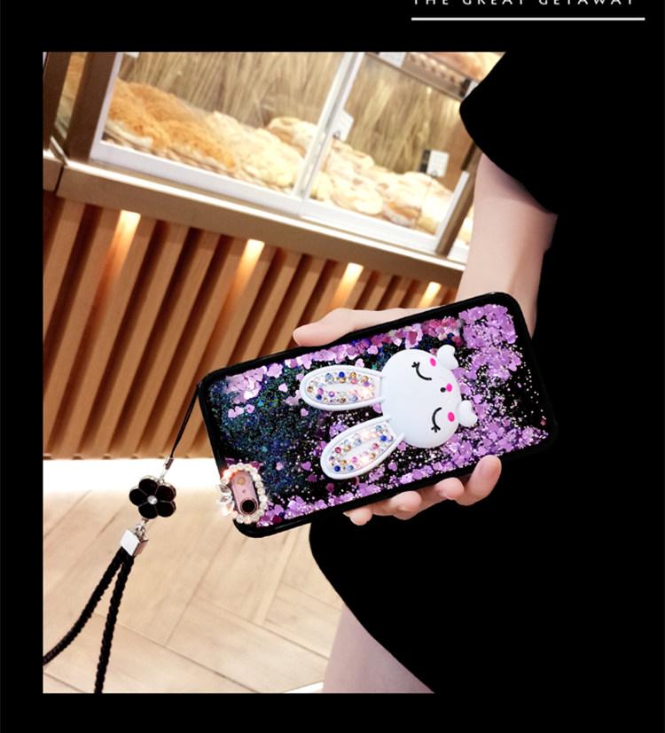 iphone8 ケース アイフォン8 カバー iphone7 ケース アイフォン7 ケース Apple 4.7インチ ストーン キラキラ 流れる ウサギ テゴ ストラップ付き