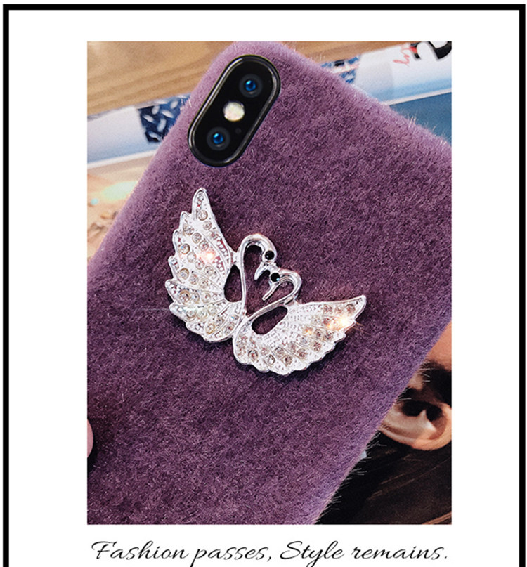 iphone8 ケース アイフォン8 カバー iphone7 ケース iphone7 カバー アイフォン7 ケース 4.7インチ ソフトケース ふわふわ ファー ストラップ付き 白鳥