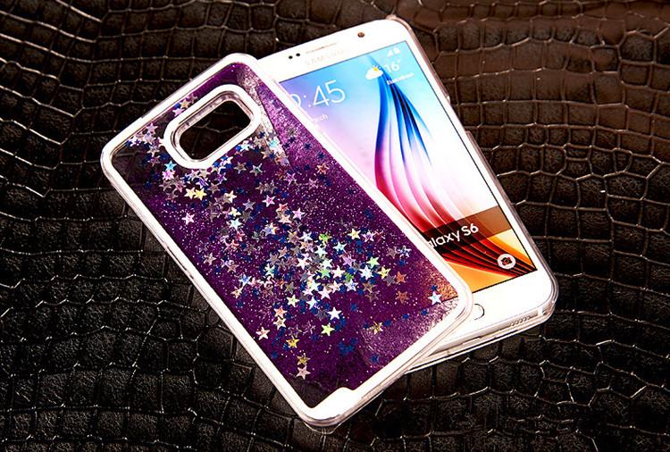 送料無料!Samsung Galaxy S6 edgeケース ギャラクシーS6 エッジ ケース SC-04G/SCV31 docomo au サンスム スマホケース 保護カバー 液体 キラキラ 流れる星