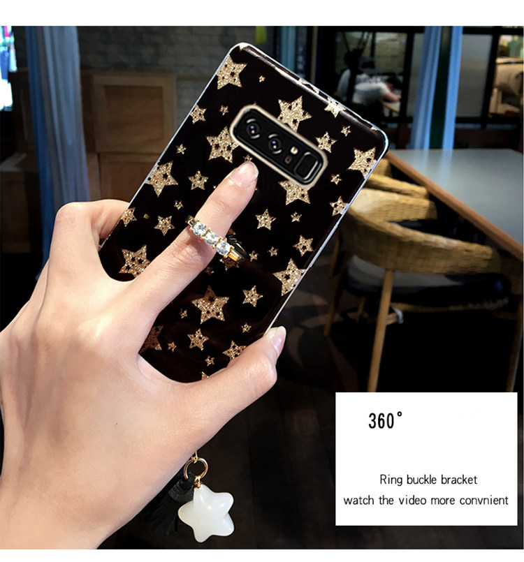 Galaxy Note8 ケース SC-01K/SCV37 docomo au サンスム スマホケース 保護カバー TPUソフト きらきら リングスタンドあり かわいい ストラップ付き