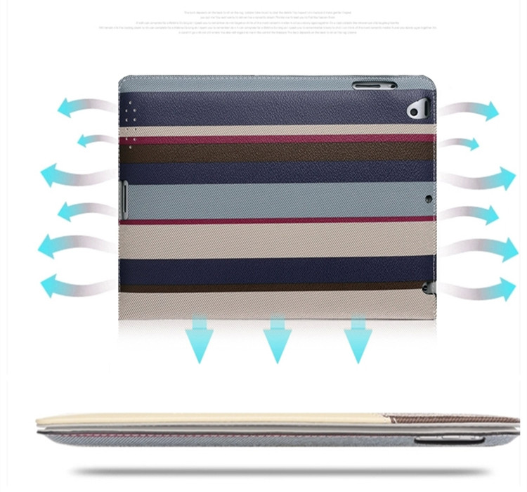 送料無料!新型 9.7インチ ipad 2018 ケース ipad 2017ケース アイパット カバー(9.7インチ) タブレットPC ハンドストラップ付き レザーケース スタンド付き ストライプ柄