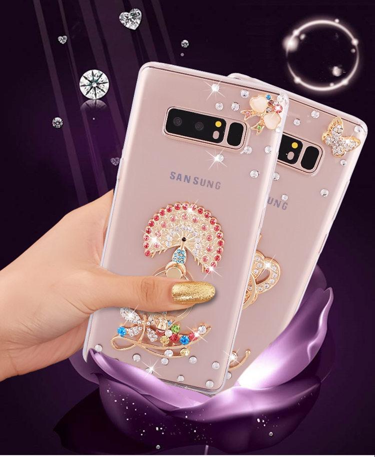 送料無料!Galaxy Note8 ケース ギャラクシーノートエイト ケース SC-01K/SCV37 docomo au サンスム プラスチック ラインストーン クリアケース パール リングスタンド アクセサリー