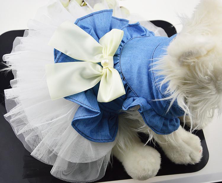 送料無料!犬服 デニム風ワンピース チュールスカート かわいいリボン コスチューム ペット服 おしゃれペット つなぎ ワンちゃん服 人気
