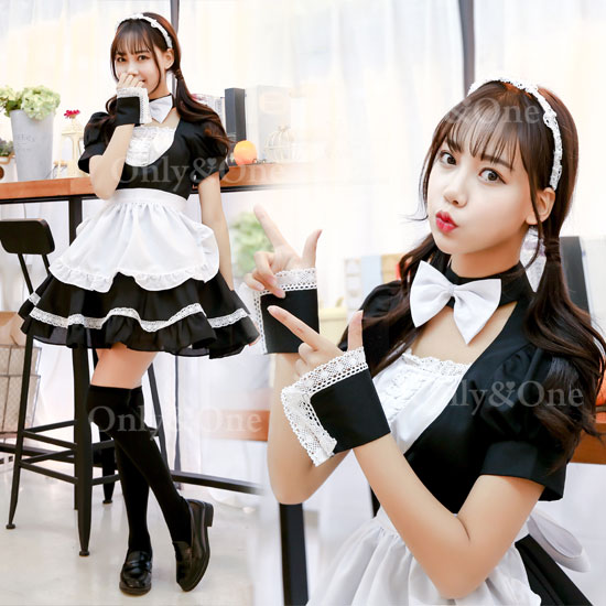 メイド コスプレ メイド衣装 コスチューム フリルエプロン 蝶リボン付き