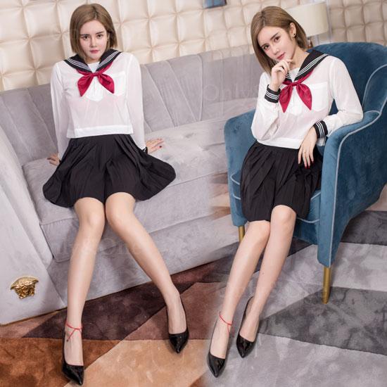 セーラー服 コスプレ 制服 赤リボン 女子高生 JK 長袖 普通丈タイプ