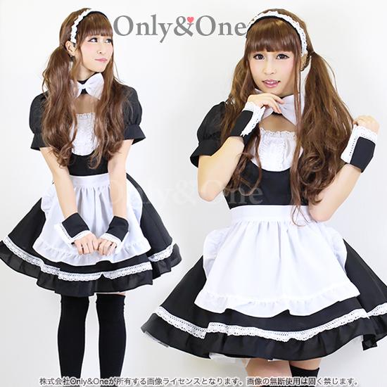 メイド コスプレ メイド服 衣装 コスチューム ブラック フリルエプロン リボン付き
