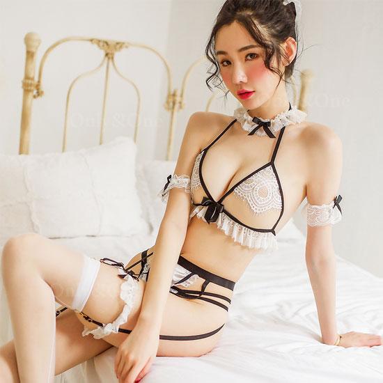 ランジェリーコスプレ メイド服 ブラ・ショーツセット フリフリ エロ かわいいコスプレ