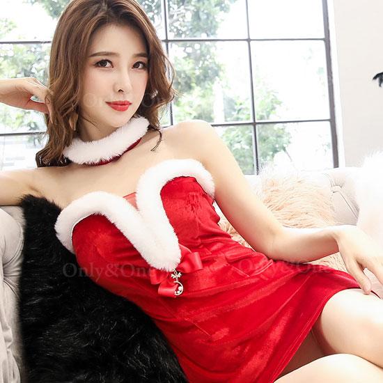 サンタ ボディコン ワンピース ベアトップ ドレス サンタ コスプレ コスチューム サンタ衣装 2カラー