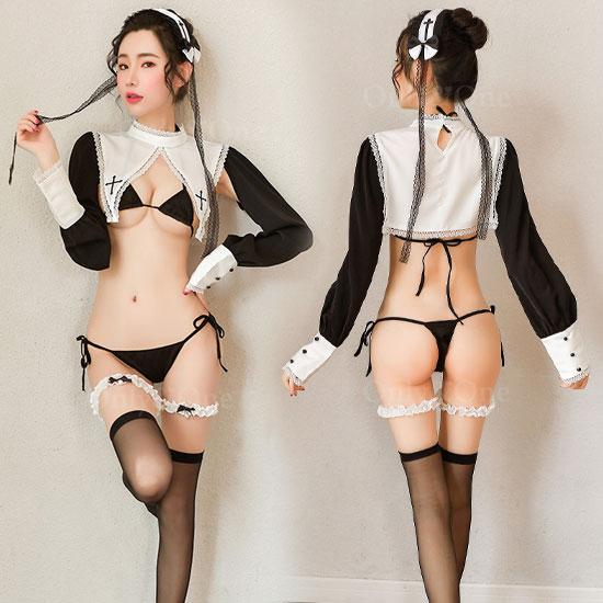 シスター ランジェリー コスプレ 衣装 オープンバスト セクシー コスチューム