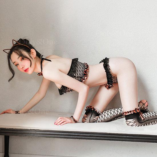 猫コスプレ 編みボディストッキング エロコスプレ ランジェリー しっぽ付き