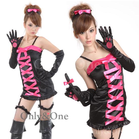 猫コスプレ 小悪魔リボンSexyキャッツコスチューム衣装