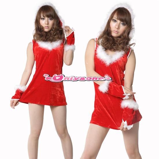 Cuteファー付き 超ミニワンピースクリスマスコスチューム