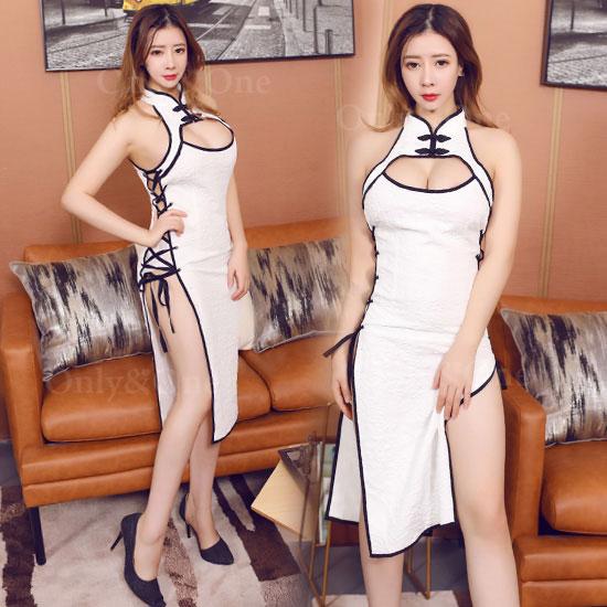 セクシー チャイナドレス サイド編み上げスリット 悩殺タイプ チャイナ服 ドレス
