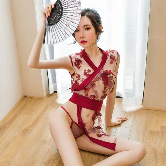 着物 和服 スケレース 刺繍 ミニ Tバック ショーツ付き セクシーコスチューム 2カラー