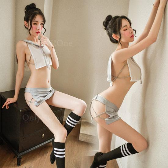 セーラー服 セクシーコスプレ コスチューム サイドクロススリット ミニ丈 ミニスカート 3カラー