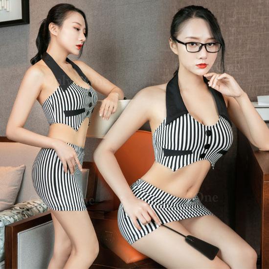 女教師 セクシーコスプレ セパレート ストライプ エロコスプレ衣装