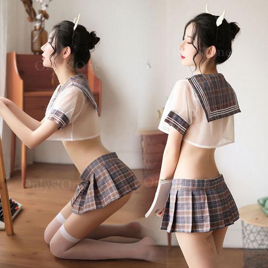 セーラー服 コスプレ コスチューム スケ チェック ミニトップ ミニスカート 3カラー