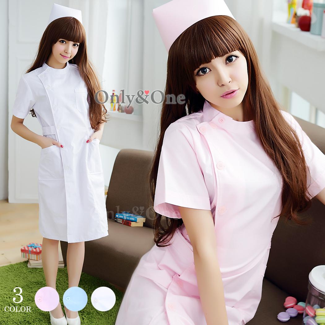 ナース コスプレ 看護婦 コスチューム 簡単コスプレ 横ボタン 白衣