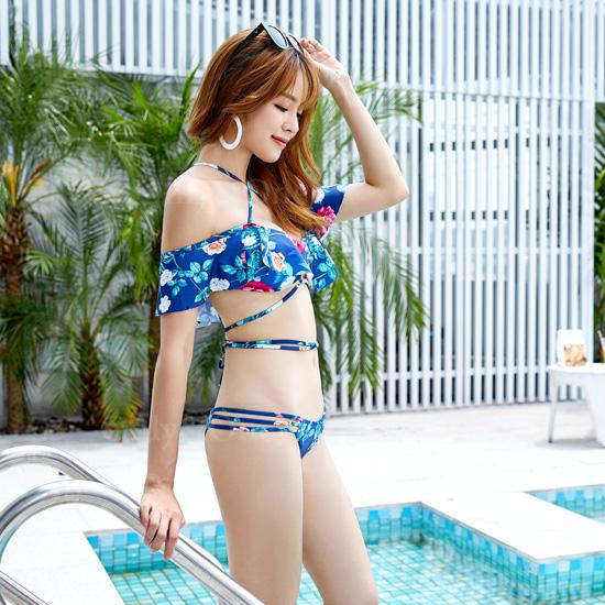 レディース水着 バンドゥビキニ セクシー 花柄 レースアップビキニ フリルビキニ Swimsuit  bikini