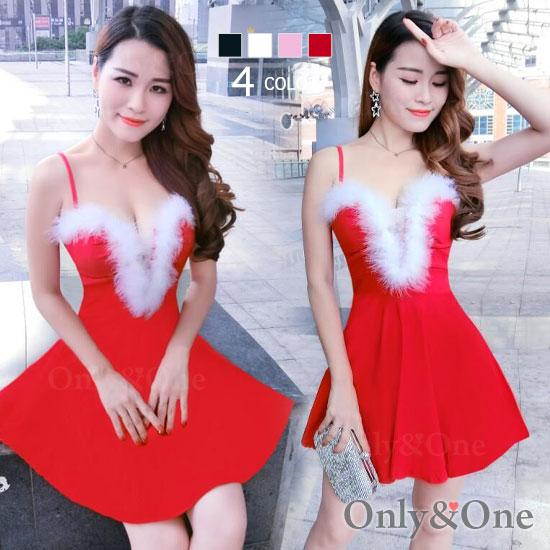 サンタ ボディコン ワンピース 胸元Vオープン サンタ コスプレ コスチューム サンタ衣装 4カラー