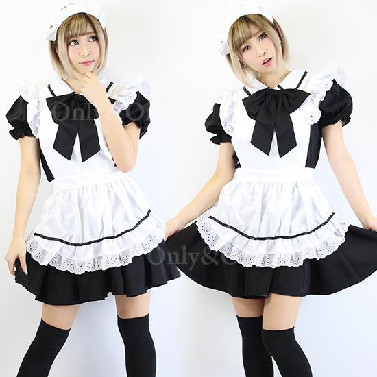 メイド コスプレ メイド服 衣装 コスチューム 定番 ブラック リボン エプロン
