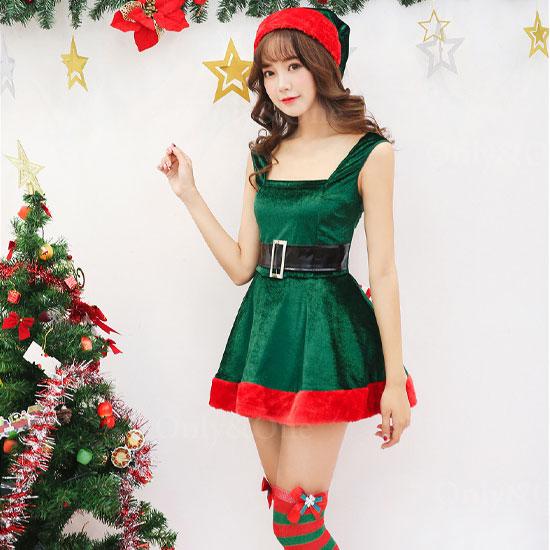 サンタ コスプレ ツリーサンタ ワンピ Xmas サンタコスチューム 衣装