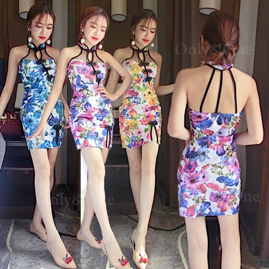 チャイナドレス ミニ セクシー ホルターネック 花柄 全3色