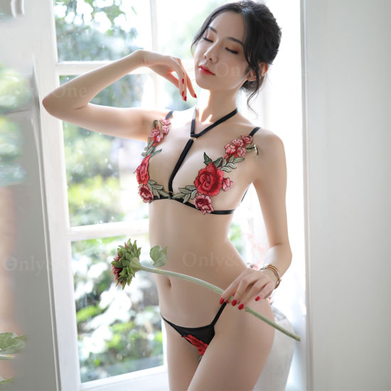 セクシーランジェリー バラ刺繍 ブラ ショーツ オープンクロック